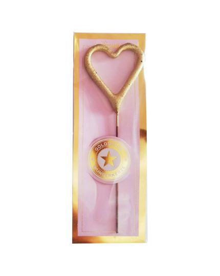 Mini Candelina Scintillante Cuore Oro 10cm