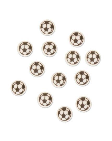 24 Mini Palloni da Calcio in Zucchero Piatti 1cm