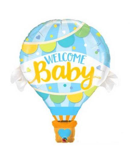 Palloncino Foil Mongolfiera Welcome Baby Celeste