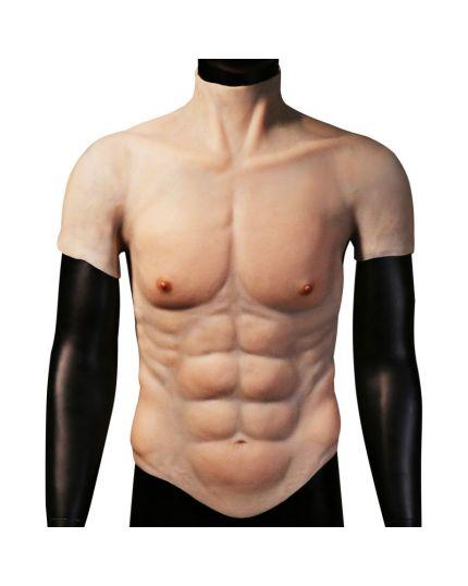 Body Tuta Seconda Pelle Uomo Torace Muscoloso con Pettorali e Addominali in Silicone Extra Realistico