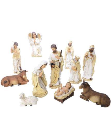 Presepe Natività in Resina Bianco e Crema 43cm 11pz