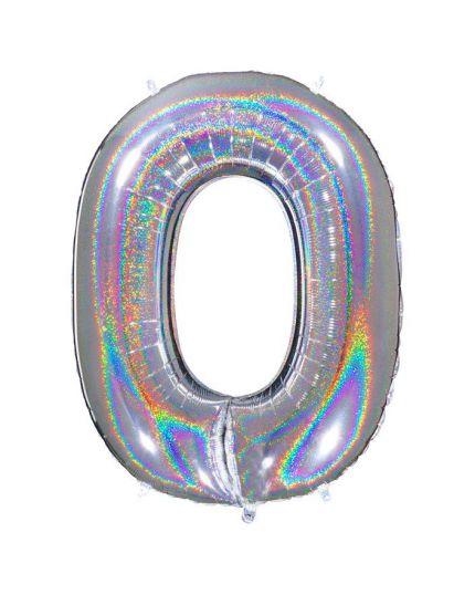 Palloncino Foil Numero Holo Effetto Glitter 90cm Argento