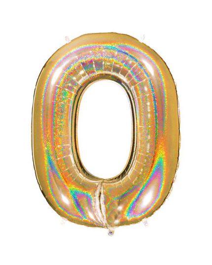 Palloncino Foil Numero Holo Effetto Glitter 90cm Oro