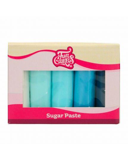 Pasta di Zucchero Multipack Tonalità Celeste 5 x 100Gr
