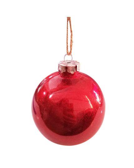 Pallina Natale Rossa Pvc Infrangibile Effetto Glitterato 10cm
