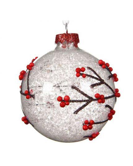 Pallina Natale Vetro Rami con Bacche Rosse 8cm
