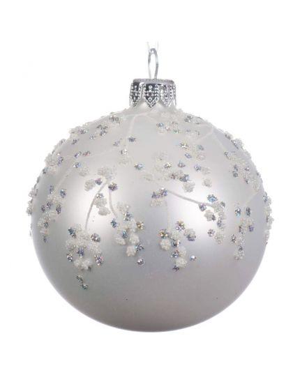 Pallina Natale Sfera con Decorazioni in Rilievo Bianco 8cm