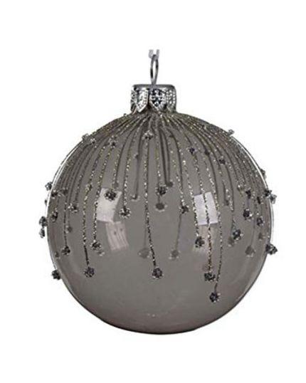 Pallina Natale Sfera con Decorazioni in Rilievo Vetro Grigio Scuro 8cm