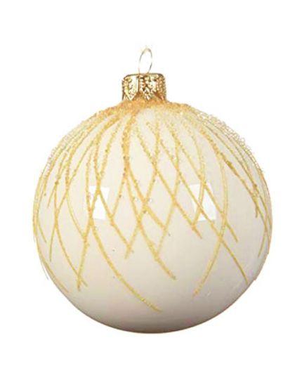 Pallina Natale Sfera con Decorazioni in Rilievo Vetro Panna 8cm