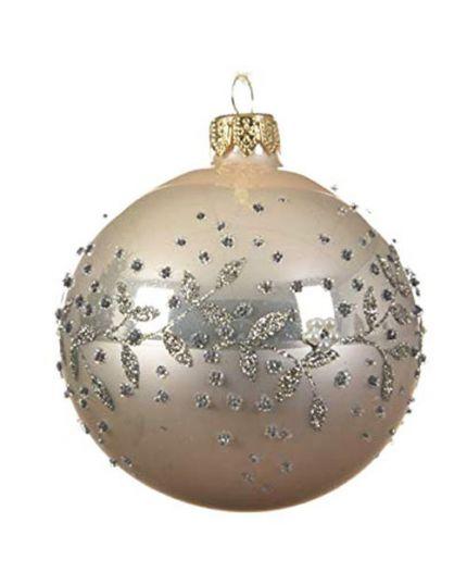 Pallina Natale Sfera con Decorazioni in Rilievo Vetro Perla 8cm