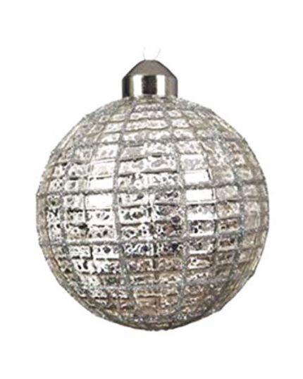 Pallina Natale Vetro Decoro Rete Argento 8cm