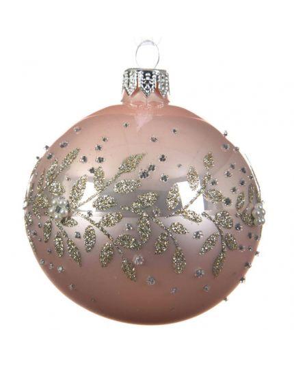 Pallina Natale Sfera con Decorazioni in Rilievo Vetro Rosa Cipria 8cm