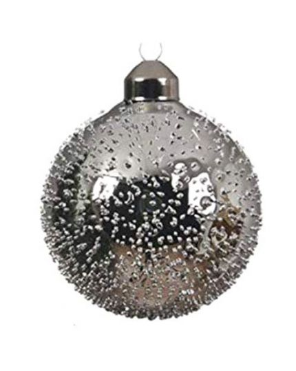 Pallina Natale Vetro Decoro Rugiada Argento 8cm