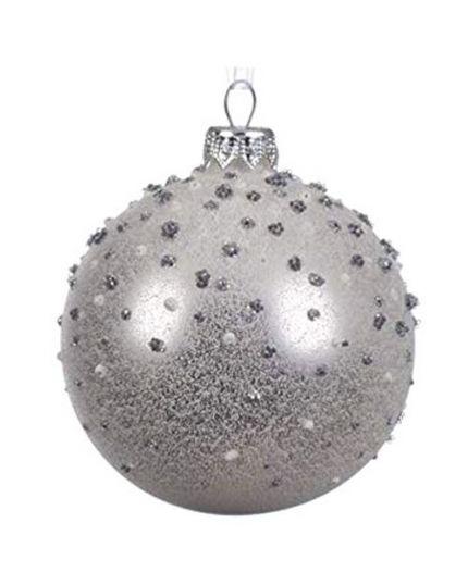 Pallina Natale Sfera con Decorazioni in Rilievo Argento 8cm