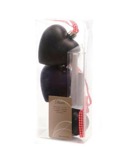 Palline Natale Cuori Neri Lavagna Pvc Infrangibile con Gessetti 7cm