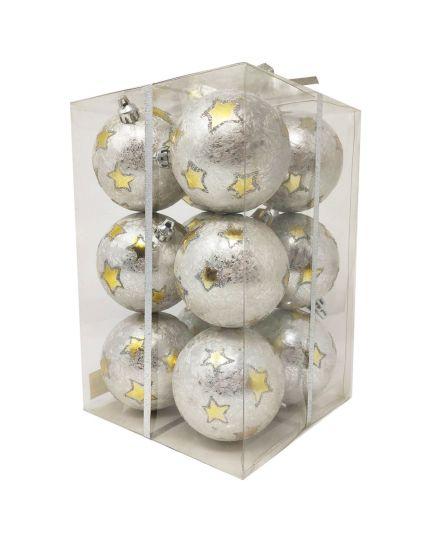 Palline Natale Pvc Infrangibile Argento Satinato con Stelline Oro e Glitter 6cm 12pz