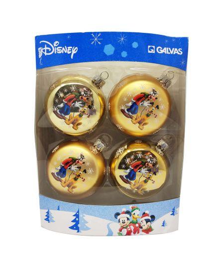 Palline Natale Resiglas Oro Pluto Disney 6,5cm 4pz