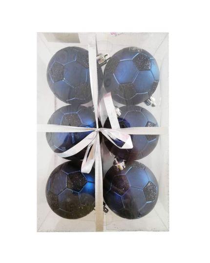 Palline Natale Palloni da Calcio Blu e Neri Pvc Infrangibile 8cm