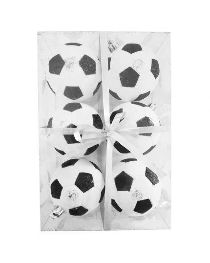Palline Natale Palloni da Calcio Pvc Infrangibile 8cm