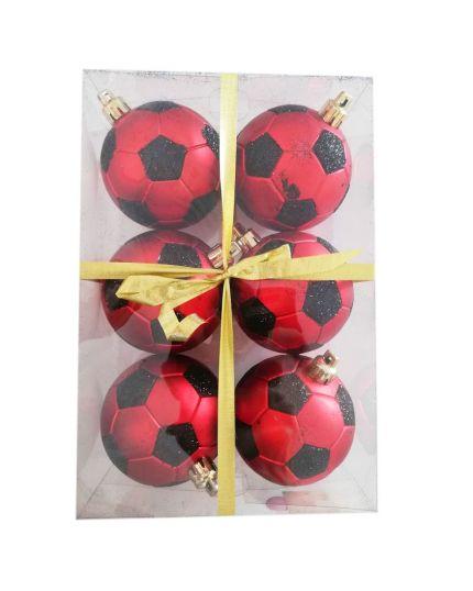 Palline Natale Palloni da Calcio Rosso Nero Pvc Infrangibile 8cm