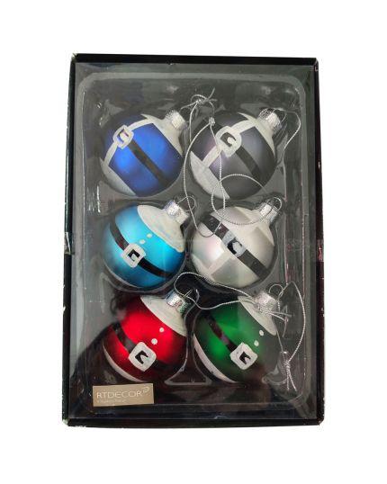 Palline Natale Vetro Pancia di Babbo Natale Multicolor con Glitter 4,5cm 6pz