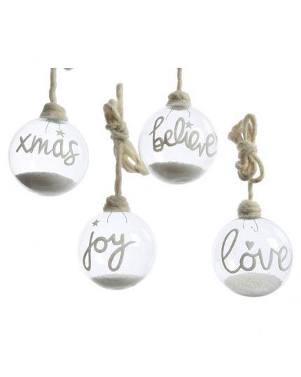 4 Palline Natale Vetro con Scritte e Neve 10cm