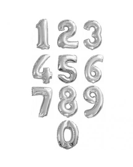 Palloncino Foil Numero Argento 35cm