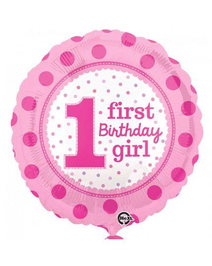 Palloncino Foil Rotondo Firts Birthday Girl