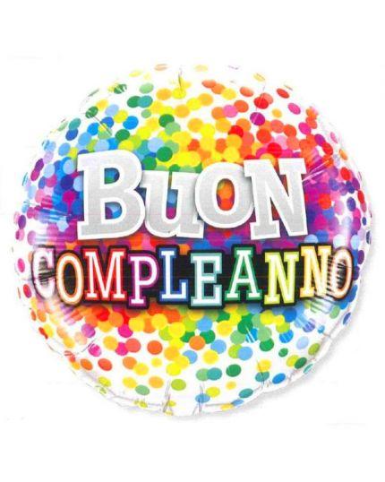 Palloncino Foil Rotondo Buon Compleanno Multicolor 46cm