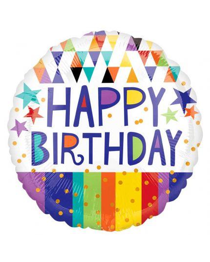 Palloncino Foil Rotondo Happy Birthday Multicolor