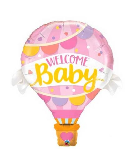 Palloncino Foil Mongolfiera Welcome Baby Rosa