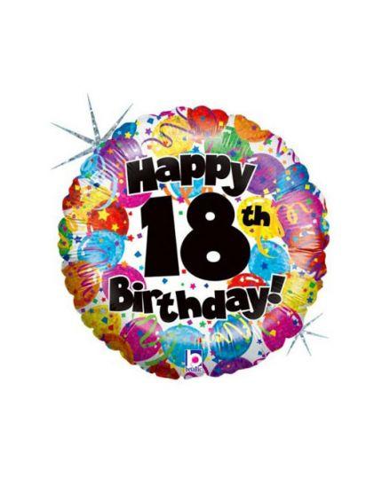 Palloncino Mylar Rotondo Happy Birthday 18 Anni