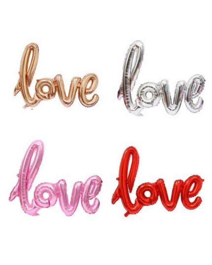 Palloncino Foil Scritta Love Corsivo Colorata 102cm