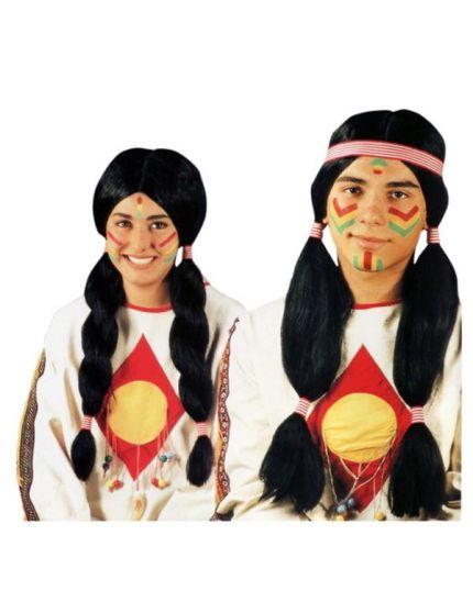 Parrucca Indiano o Squaw Lunga Nera Adulto