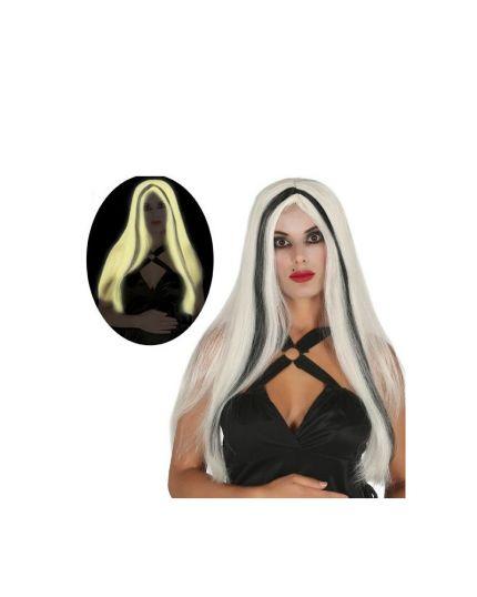Parrucca Liscia Lunga Bianca Fluorescente