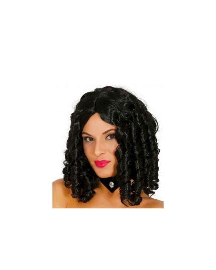 Parrucca Nera con Boccoli