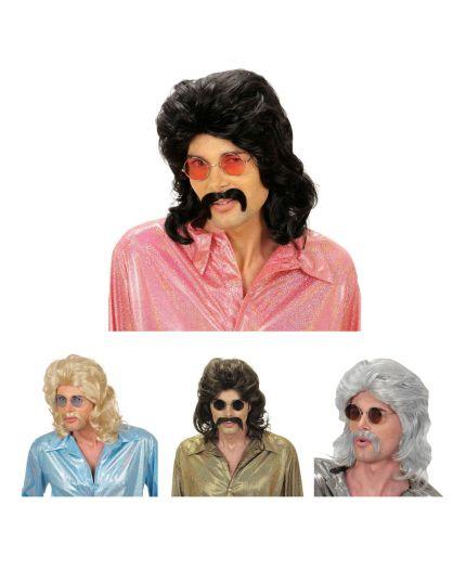 Parrucca Uomo Anni 70 Colorata con Baffi