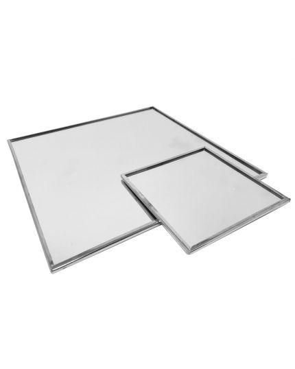 Piatto Specchio Quadrato con Bordo Argento Varie Dimensioni