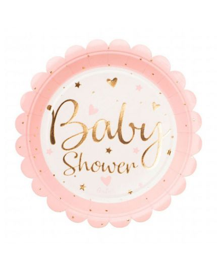 Piattini Carta Baby Shower Chic Oro Bambina o Bambino