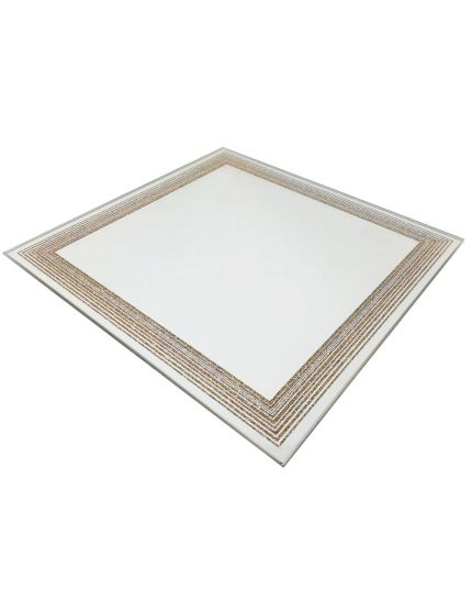 Piatto Specchio Quadrato con Bordo Glitter Oro 20x20cm
