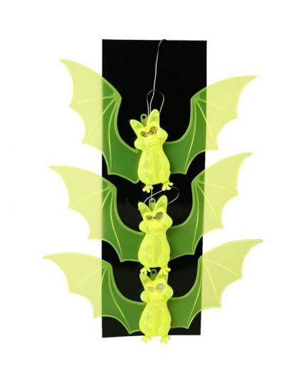 Decorazione Pipistrelli da Appendere Fluorescenti con Occhi Luminosi 60cm