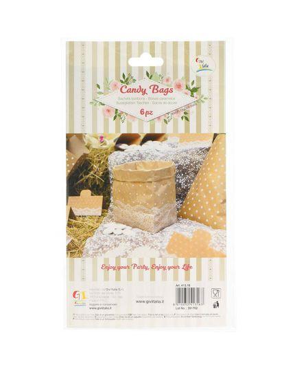 Sacchetti Carta per Caramelle Colore Natural con Pois e Pizzo Bianco 6pz