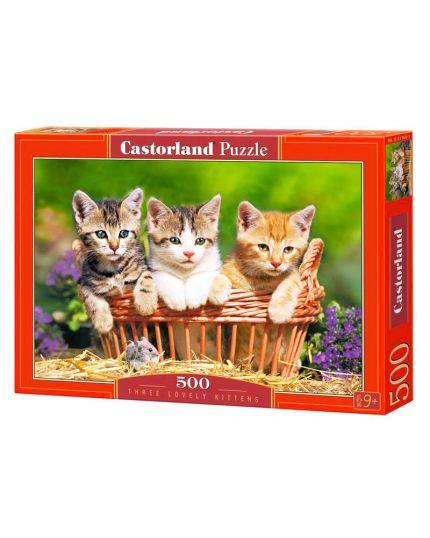 Puzzle Tre Gattini Amorevoli 500 Pezzi 47x33 Cm