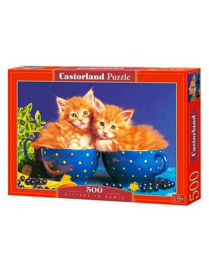 Puzzle Gattini Nelle Tazze 500 Pezzi 47x33 Cm
