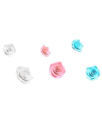 Decorazioni Zucchero Rose Colorate Mamì 2,5cm 8pz