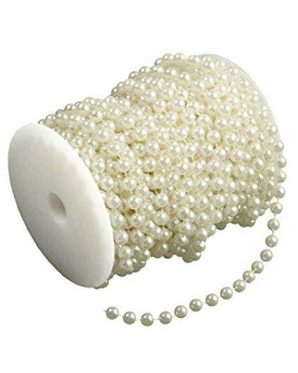 Bobina Rotolo Filo di Perle Crema 0,6 mm 5 Metri