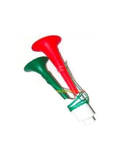 Trombetta Doppia Tricolore Italia in Plastica