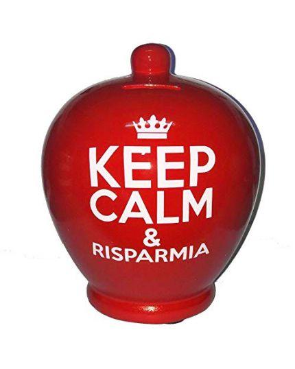 Salvadanaio Terracotta Keep Calm & Risparmia 20cm