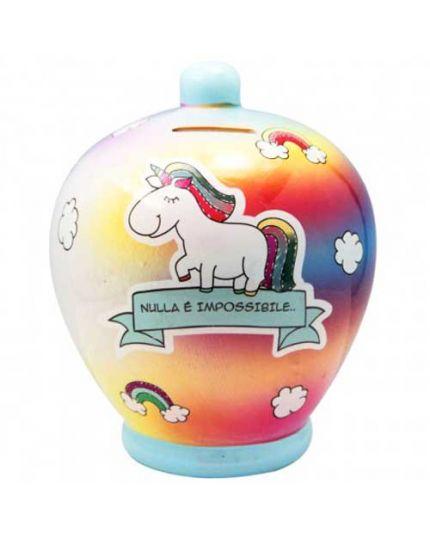 Salvadanaio Terracotta Nulla è Impossibile con Arcobaleno e Unicorno 20cm