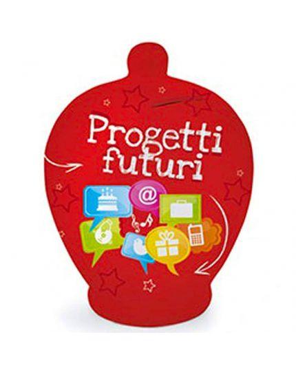 Salvadanaio Terracotta Natalizio Progetti Futuri Rosso 20cm